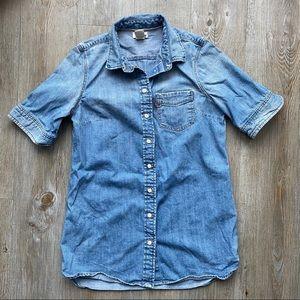 LEVI'S | Distressed Short Sleeve Denim Short